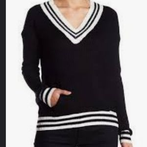 Black and white varsity sweater